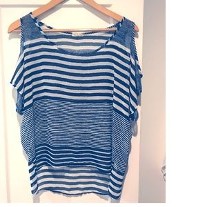 Off-The-Shoulder Striped Blouse by One Clothing